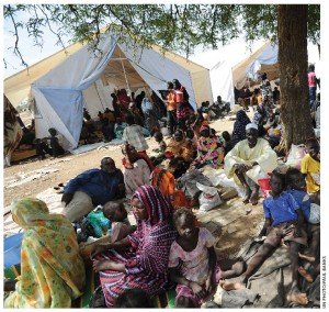 Thousands of people displaced by conflict in Kadugli, the capital of South Kordofan State, have sought refuge in an area secured by the UN Mission in Sudan.