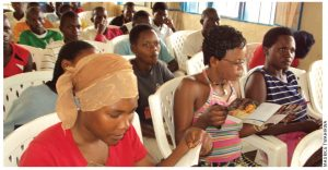 Rwandan women in Kigali attend an information session on microbicide trials.