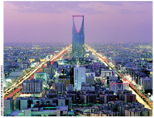 This view of the city of Riyadh, Saudi Arabia's capital, shows the Kingdom Centre, also known as Al Mamlika Tower, which is the tallest skyscraper in the country.