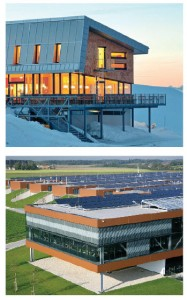 Austria leads the world in the number of energy-efficient buildings, such as this alpine passive house (above). Below, Fronius' Sattledt headquarters; the solar panel roof supplies 90 percent of the facility's energy needs.