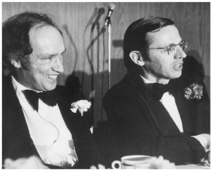 Roy MacLaren and Pierre Trudeau at a Liberal fundraising dinner in Toronto in 1974.