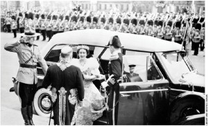 King George VI and Queen Elizabeth meet Prime Minister William Lyon Mackenzie King outside the Parliament Buildings during a royal visit in 1939. He was the first reigning monarch to visit Canada.
