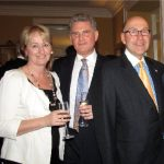 British High Commissioner Andrew Pocock, centre, with guests Bronwyn Klenner (New Zealand) and U.S. Ambassador David Jacobson, at his party celebrating the royal wedding of Prince William and Catherine Middleton. (Photo: Jennifer Campbell)
