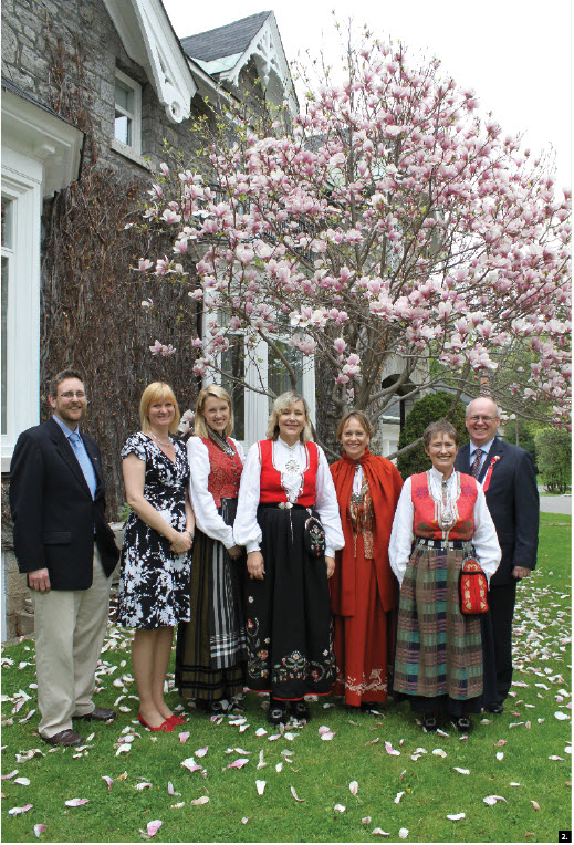Norwegian Ambassador Else Berit Eikeland hosted a national day event at her residence May 18. From left: cultural affairs officer Jan-Terje Studsvik Storaas, consular officer Margrete Vollelv, trainee Torunn Tveit Gaasemyr, Eikeland, archivist Anne Roel Lydersen, information officer Wenche Linneboe and minister-counsellor Jo Sletbak. (Photo: Ulle Baum)