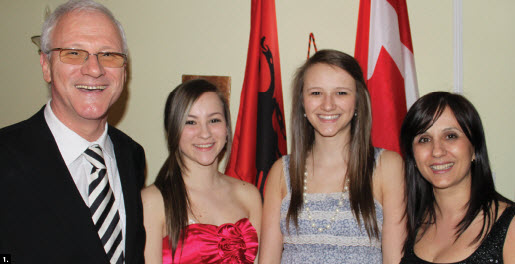 Albanian Ambassador Besnik Konci concluded his Ottawa posting this spring. He's shown at his farewell reception with, from left, his daughters, Rea and Xheni, and his wife, Etleva Konci. (Photo: Ulle Baum)