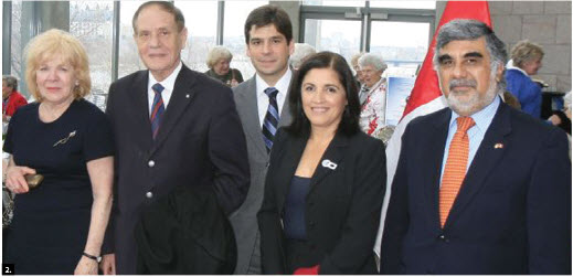 The National Gallery of Canada's volunteer's circle hosted a Wednesday morning study group featuring photographer Frank Scheme, who spoke on the colonial art of Peru while Candice Hopkins spoke about indigenous art. The event was followed by an annual spring luncheon and the embassy of Peru provided some Peruvian treats to guests. From left, convenor Sidney Hicks, Douglas Cardinal, Peruvian diplomat José Ortiz, Rosa Bellina, and Peruvian Ambassador José Antonio Bellina. (Photo: Frank Scheme)