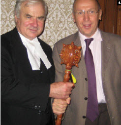 House of Commons Speaker Peter Milliken received a bulava, a Ukrainian symbol of political power, from Ukrainian Ambassador Ihor Ostash, who presented it on behalf of the Ukrainian-Canadian Professional and Business Association of Ottawa.