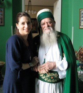 Rachel Goslins, director of the upcoming film, Besa: The Promise, with Baba Haxhi Dede Reshat Bardhi, in Tirana, Albania.