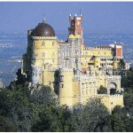 Pena Palace (Palacio da Pena) in the town of Sintra was home to Queen Rainha D. Amélia from 1889 until 1910 when Portugal was established and the queen went into exile.
