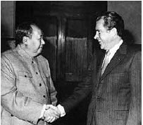 Mao Tse-tung meets U.S. President Richard Nixon in Beijing in February, 1972.