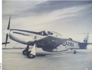 "This photo dates to February 15, 1956 at RCAF Station Calgary, Alberta with Lynn Garrison in cockpit. The Mustang 9281 was sold by the Canadian government to James De Furia of New York and subsequently flew with the El Salvadorian Air Force during the 1969 Football War. Collector Jerry Janes brought it back to Canada where it was restored and named ""Cottonmouth."""