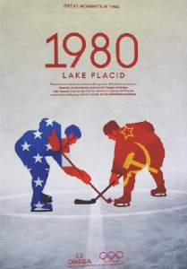 A keepsake poster from the Miracle on Ice game in Lake Placid.