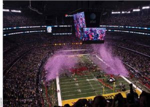 Confetti is blasted out of cannons and onto the football field at the end of the 2011 Super Bowl XLV at Cowboys Stadium in Dallas, Texas, where the Green Bay Packers defeated the Pittsburgh Steelers.