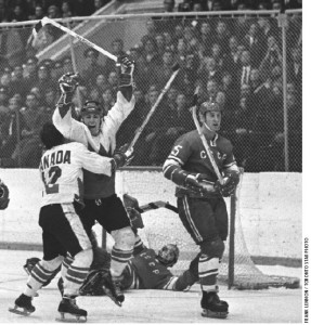 Team Canada's Paul Henderson, embraced by teammate Yvan Cournoyer, celebrates his series-winning goal in Game 8 of the Canada-Soviet hockey series on Sept. 28, 1972.