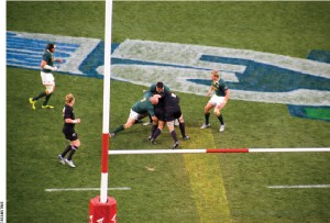 Nelson Mandela, shown in 2006, wore the jersey of South Africa's rugby team, the Springboks,  when they won the Rugby World Cup against the New Zealand All Blacks in 1995. In the 2010 photo above, the Sprinkboks and All Blacks have a rematch.