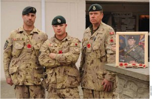 When MCpl Byron Greff was killed by a vehicle-borne improvised explosive device while on an armoured NATO bus, his three closest friends, Cpl. Denzil Wilson, Cpl. Chevy O'Neil and Cpl. Steven Wilson, came up with the idea of creating a velcroed poppy patch to be sold to soldiers, with funds raised going to Greff's young family. Many still wear the poppy patch under a pocket or in their field hats.