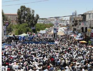Protests at Sana'a University start with hundreds in February 2011 and grow to thousands in March and hundreds of thousands in April.