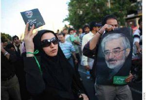 Iranian supporters of defeated reformist presidential candidate Mir Hossein Mousavi demonstrate in June 2009 in Tehran. Iranians protested against what they believed was a rigged vote that put President Mahmoud Ahmadinejad back in power.