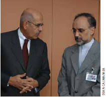Ali Akbar Salehi, Iran's permanent representative to the IAEA, and Mohamed ElBaradei (left), then IAEA director general, speak to the press in Vienna in 2003. Mr. Salehi is currently foreign minister of Iran.