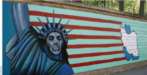 Graffiti at the former U.S. embassy in Tehran where 52 Americans were taken hostage for 444 days during the Iran hostage crisis, from November 4, 1979 to January 20, 1981. The Iranians released the hostages on Jan. 20, 1981, the day Ronald Reagan took office.