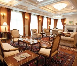 The main reception room at the grandly renovated Egyptian ambassadors residence 