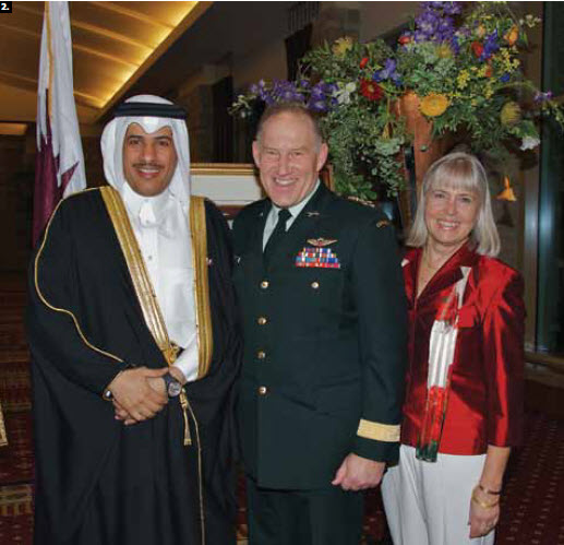 2. To mark the national day of the State of Qatar, Ambassador Salem Mubarak Al-Shafi hosted a reception at the Hilton Lac-Leamy Hotel. From left, Al-Shafi, Chief of Defence Staff Walter Natynczyk and his wife, Leslie.