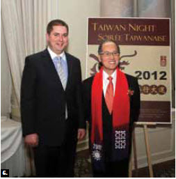 6. Taipei economic and cultural office representative David Lee, right, hosted Taiwan Night at the Chateau Laurier. The event was attended by numerous parliamentarians, including House of Commons Speaker Andrew Scheer, left.