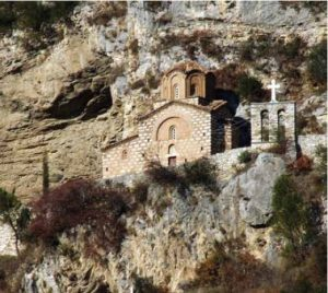 A view of a church in the mountain at Berat