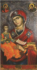 An icon of Saint Mary, at the Onufri  National Museum in Berat