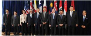 Leaders of TPP member states and prospective member states at a summit in 2010. Chilean President Sebastián Piñera is fourth from the left.