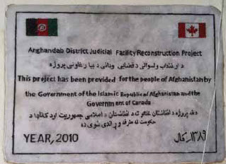 This is the plaque an Afghan man showed Mr. Karimi before he came to Canada. It's mounted on a courthouse Canadians helped build in Kandahar.