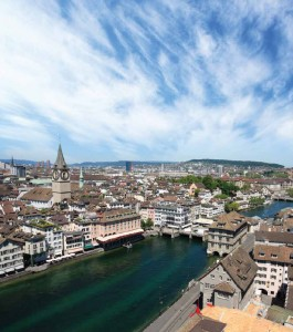 Switzerland has been ranked the most productive economy in the world by the  World Economic Forum for three years running. This is a photo of its largest city, Zurich.