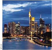 Much of Germany's success (seen here is Frankfurt), is due to tough labour policies introduced by former Chancellor Gerhard Schröder.