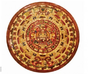 A wooden Mayan calendar, made in Mexico as a handicraft.