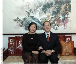 Dr. Lee and his wife, Lin Chih, in their living room.