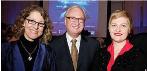 The official opening of the Whales Tohora exhibition at the Canadian Museum of Nature was co-hosted by the New Zealand High Commission. From left, Canadian Museum of Nature CEO Meg Beckel, vice-chair Nicholas Offord and New Zealand Deputy High Commissioner Felicity Buchanan. (Photo: Martin Lipman)