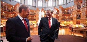 Prime Minister Stephen Harper and Polish Prime Minister Donald Tusk visited the Library of Parliament during Mr. Tusk's May visit. (Photo: PMO)
