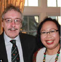 Irish Ambassador Raymond Bassett hosted a St. Patrick's Day party, which Cicilia Rusdiharini, minister-counsellor for Indonesia, attended. (Photo: Ulle Baum)