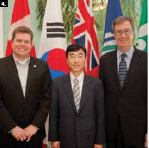 Mayor Jim Watson and Deputy Mayor Steve Desroches met with a South Korean trade delegation. From left, Steve Desroches, deputy mayor; Jung Min Kim, deputy minister, office for development and settlement of Sejong-City, and Mayor Jim Watson. (Photo: Roger Lalonde)