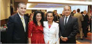 The embassy of Azerbaijan held a national day reception at the Westin Hotel. Ambassador Farid Shafiyev, his wife, Ulkar (at left) and Egyptian Ambassador Wael Aboul Magd and his wife, Hanan Abdel Kader (at right). (Photo: Sam Garcia)