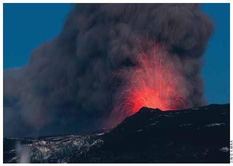 A major eruption at Eyjafjallajökull in Iceland.