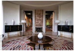 The ambassador can host small, informal meetings and meals in this casual, round sitting room at one end of the grand salon.