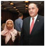 Georgian Ambassador Levan Metreveli, right, hosted a national day reception at the National Arts Centre. He's shown with Malaysian High Commissioner Hayati Binti Ismail. (Photo: Sam Garcia)