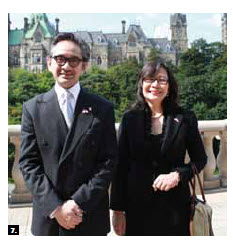 Indonesian Foreign Minister R.M. Marty M. Natalegawa visited Ottawa Aug. 23 and made a speech to mark the 60th anniversary of diplomatic relations between Canada and Indonesia. He's shown with Indonesian Ambassador Dienne Moehario (Photo: Ulle Baum)