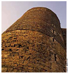 The Maiden Tower was built in the 12th century, as part of the walled city of Baku.