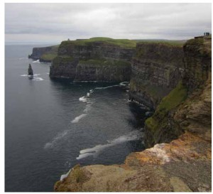 The grand scale of the eight-kilometre expanse of sheer stone at the cliffs of Moher astonishes visitors.