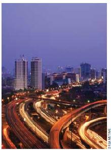 Indonesia's capital, Jakarta, at dusk.