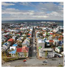 Downtown Reykjavik, Iceland's capital.