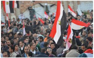 Egyptians demonstrate in Alexandria in January 2012.