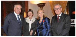 French Ambassador Philippe Zeller appointed Monique F. Leroux, of the Desjardins Group, to the rank of Chevalier of the Ordre national de la Légion d'honneur. From left, Mr. Zeller, his wife, Odile, Monique Leroux and Marc Leroux. (Photo: Embassy of France)